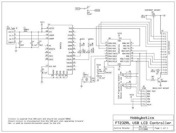 Serial LCD Controller Schemetic