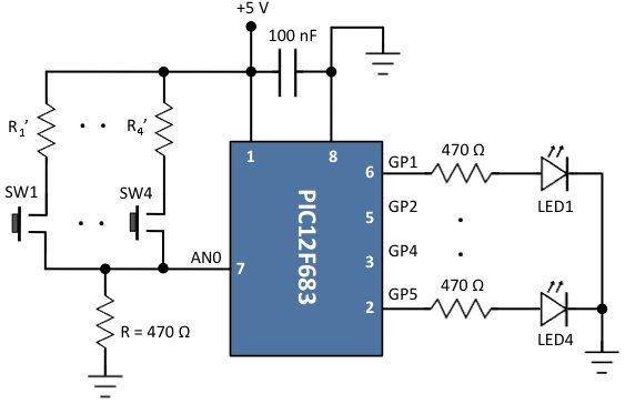 Connecting multiple tact switches on a single input pin of a microcontroller