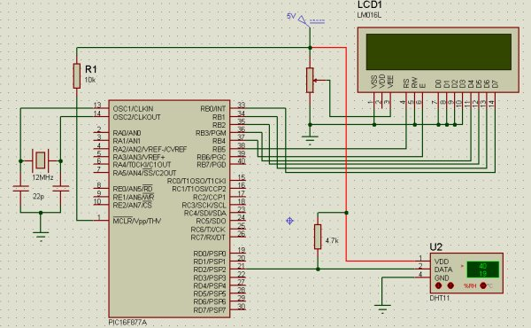 Interfacing DHT11 humidity and temperature sensor with PIC16F877A