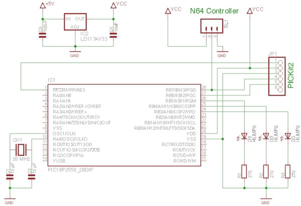 Reading Nintendo 64 controller with PIC microcontroller