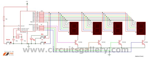 Real Time Clock Circuit using Mircocontroller Schemetic