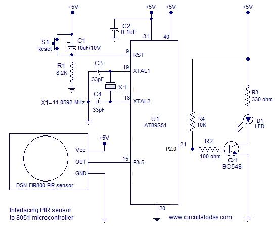 Interfacing Pir Sensor To 8051