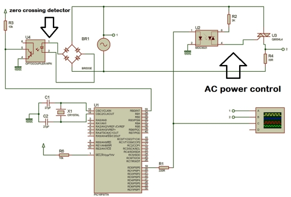 AC power control with thyristor using pic microcontroller Schematic