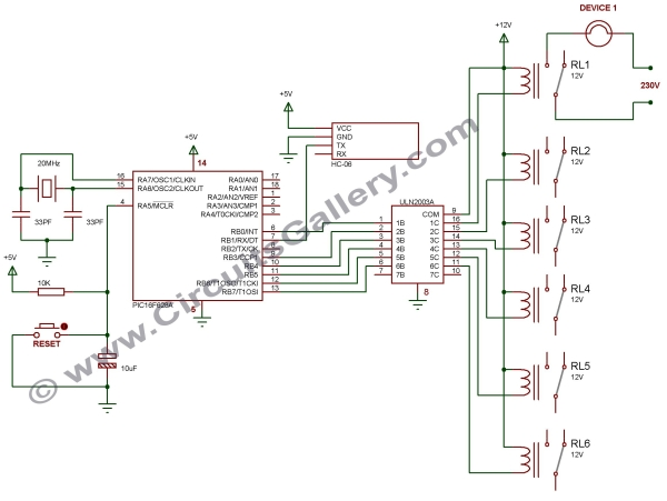 Android App Home Automation via Bluetooth Using PIC16F628A Microcontroller Schematic
