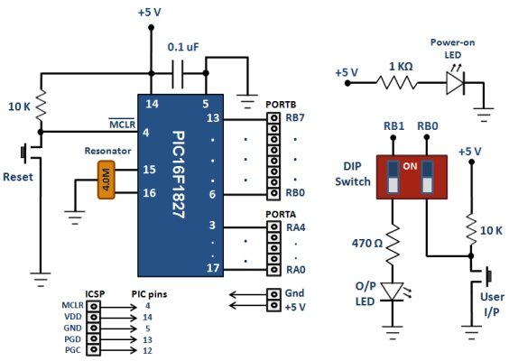 Breakout board for 18-pin PIC16F series microcontrollers Schematic
