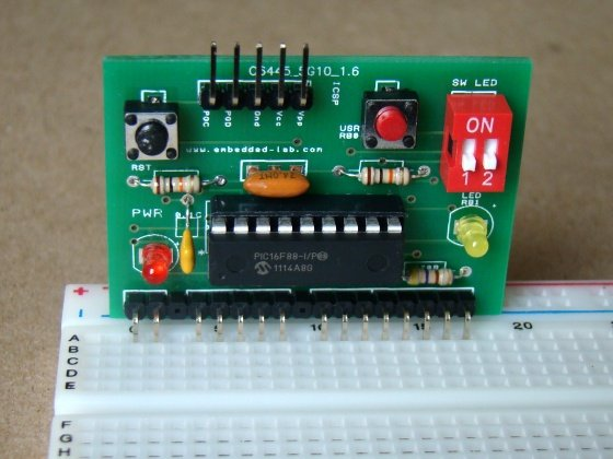 Breakout board for 18-pin PIC16F series microcontrollers