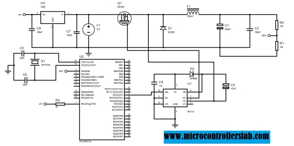 Buck converter using pic microcontroller and IR2110 Schematic