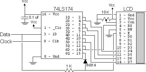 Build your own 2-Wire LCD Interface using the PIC16C84 microcontroller Schematic