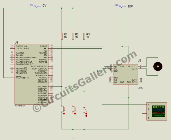 DC Motor Interfacing With PIC Microcontroller Using L293 Motor Driver IC Schematic