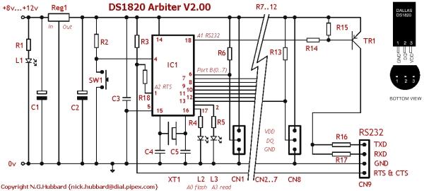DS1820 Arbiter V2.00 Schematic  Parts List