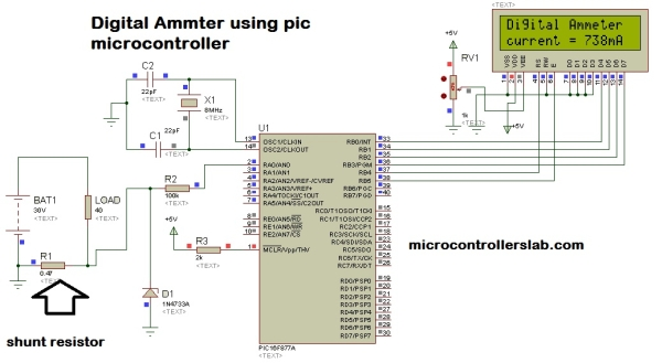 Digital Ammeter circuit using pic microcontroller Schematic
