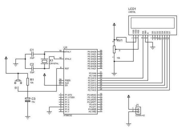 Digital Clock Using Microcontroller 89C52 89S52 Schematic