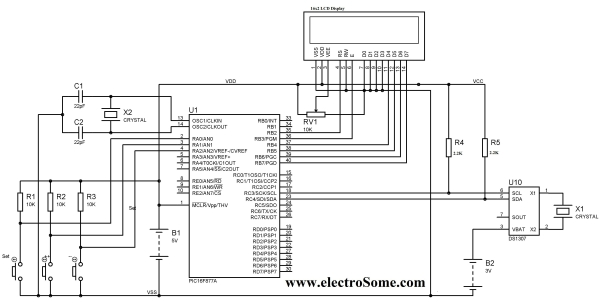 Digital Clock using PIC Microcontroller and DS1307 RTC Schematic