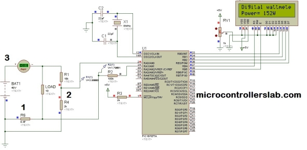 Digital DC watt meter project using pic microcontroller Schematic