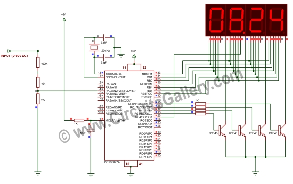 Digital Voltmeter Using PIC Microcontroller 16F877A and Seven Segments Display (0-30V) Schematic