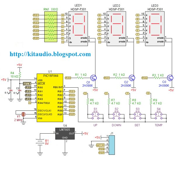 Digital thermometer with PIC16F84 circuit Schematic
