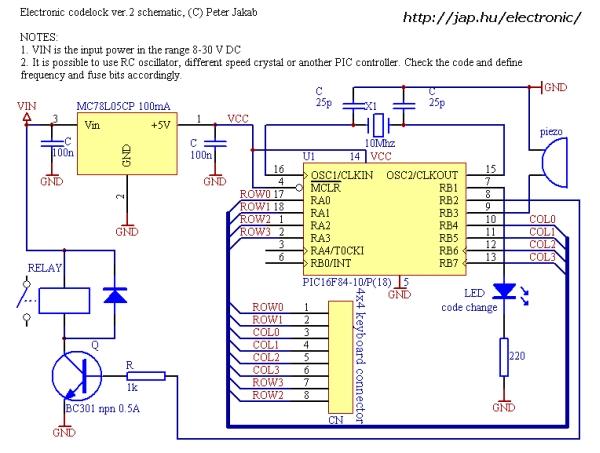 Electronic door codelock with PIC Schematic