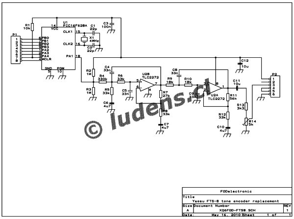 FTS-8 subtone encoder Schematic