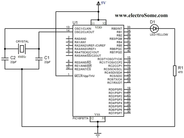 Getting Started with MPLAB XC8 Compiler – LED Blinking Schematic