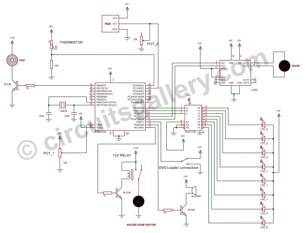 Home Automation and Security System using Microcontroller ATMEGA8 with Arduino Programming Schematic
