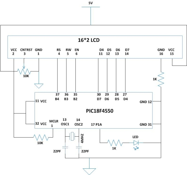 How to Glow an LED using PWM with PIC Microcontroller Schematic