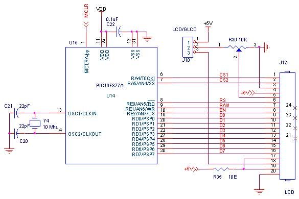 How to Interface LCD with PIC16F877A Slicker Schematic