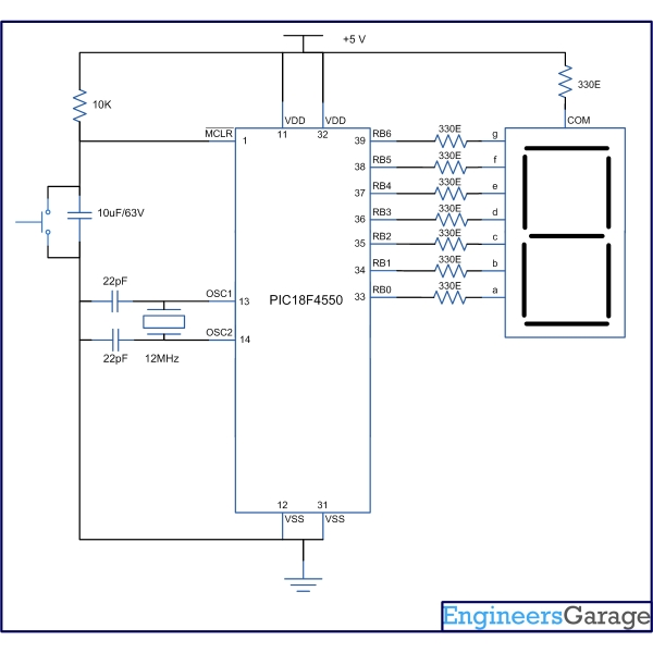 How to interface Seven Segment Display with PIC18F4550 Microcontroller Schematic