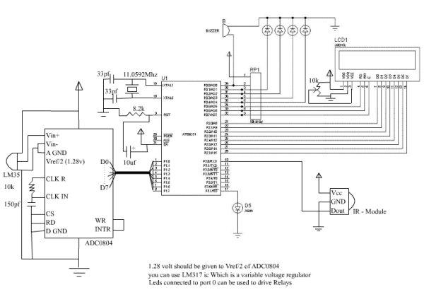 IR Digital Thermostat for FAN Schematic