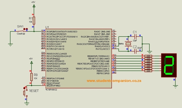 Interfacing 7-Segment Display With PIC Microcontroller - MikroC Schematic