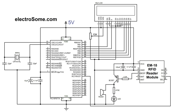 Interfacing EM-18 RFID Module with PIC Microcontroller Schematic
