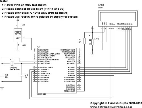 Interfacing LM35 Temperature Sensor with PIC Microcontroller schematic