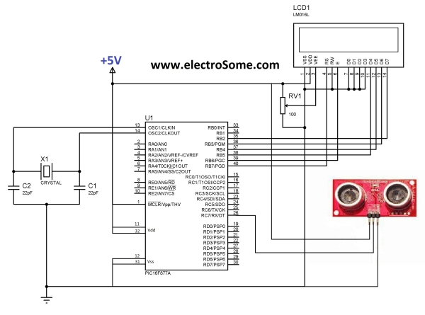 Interfacing Ultrasonic Distance Sensor  ASCII Output with PIC Microcontroller Schematic