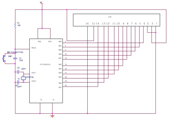 Interfacing16X2 LCD with PIC Microcontroller schematic