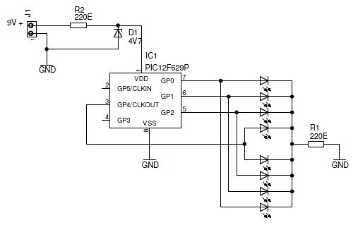 Knight Rider Light computer - version 2 Schematic