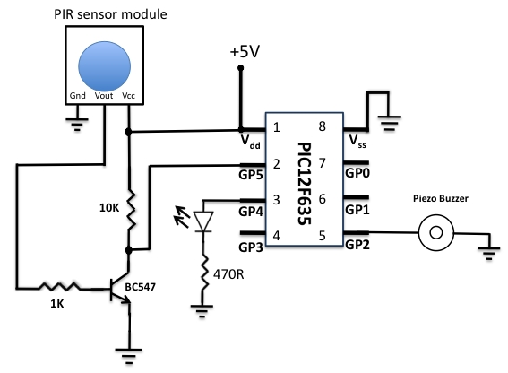 MOTION SENSOR USING PIR SENSOR MODULE WITH PIC MICROCONTROLLER AND WITHOUT MICROCONTROLLER  Schematic