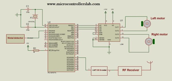 Metal detector robot using pic microcontroller schematic