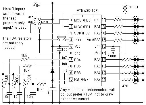 Microcontroller Adc Project Circuit Schematic
