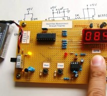 Microcontroller measures heart rate through fingertip