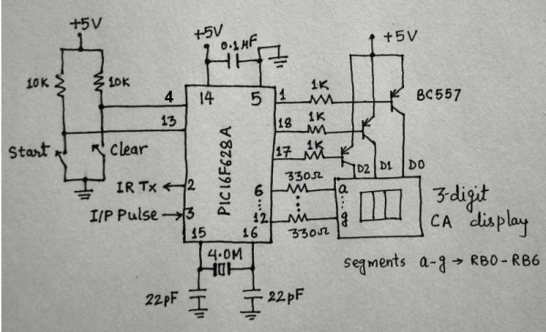 Microcontroller measures heart rate through fingertip Schematic