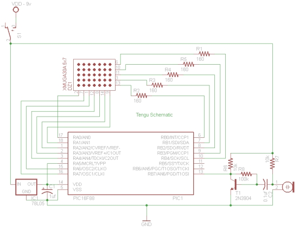 PIC 16F88 Microcontroller PIC based Tengu Schematic