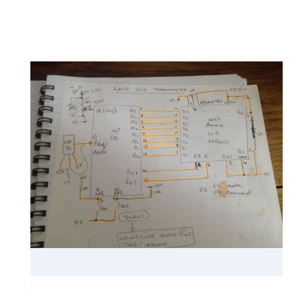 PIC Microcontroller project – 24 hour clock and thermometer displayed via 16f690 microcontroller and LCD programmed in C Schematic