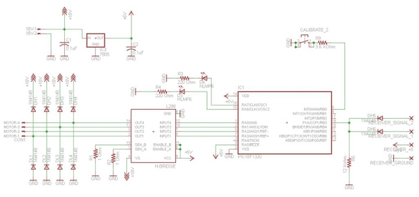PIC RC Motor Controller (and example lego robot) Schematic