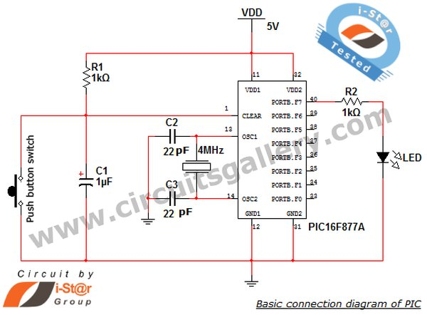 PIC microcontroller Beginner's guide Basic connection circuit schematic