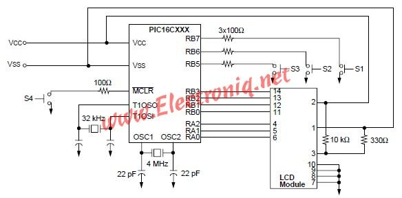 PIC16CXXX real time clock electronic project Schematic