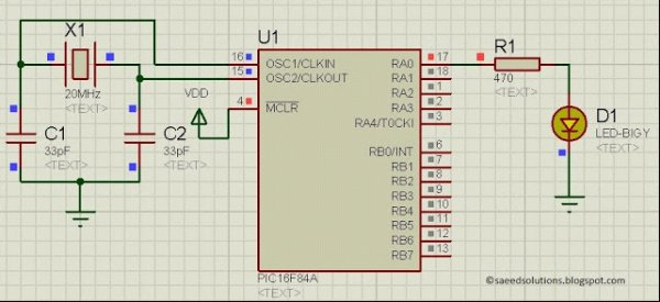 PIC16F84A LED blinking code + Proteus simulation Schematic