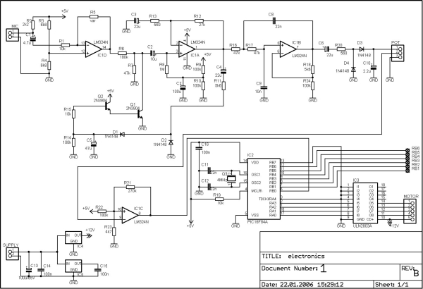 PIC16F84A discolight effect with bass beat control Schematic