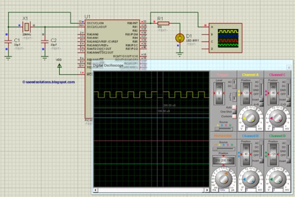 PIC16F877A timer0 code + Proteus simulation schematic