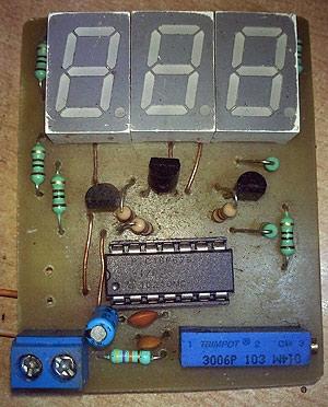 PIC16c71 four channel digital voltmeter