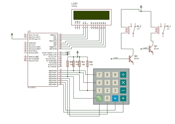 Password Based Circuit Breaker using PIC Microcontroller with C code Schematic