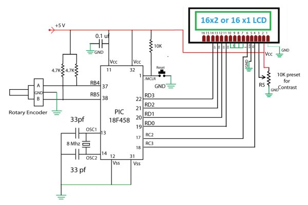 Rotary Encoder Interfacing with PIC Mirocontroller Schematic